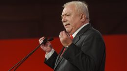 09 Oct 2015, Vienna, Austria --- Wien, Austria. 9th October 2015 -- Michael Häupl, mayor of Vienna speaks to the audience. -- The SPO party (Social Democratic Party), held its final campaign rally ahead of the elections of a new mayor on the 11th of October in Vienna. --- Image by © Martin Juen/Demotix/Corbis