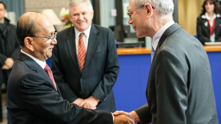 05 Mar 2013, Brussels, Belgium --- Brussels, Belgium. 5th March 2013 -- Myanmar President Thein Sein shaking hands with EU Council President Herman Van Rompuy. -- Myanmar President Thein Sein holds a meeting with EU Council President Herman Van Rompuy during his visit through Europe.