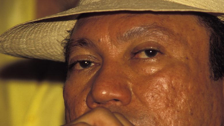 February 1988, Panama --- General Manuel Noriega under the influence of cocaine at a social gathering.  --- Image by © Greg Smith/Corbis