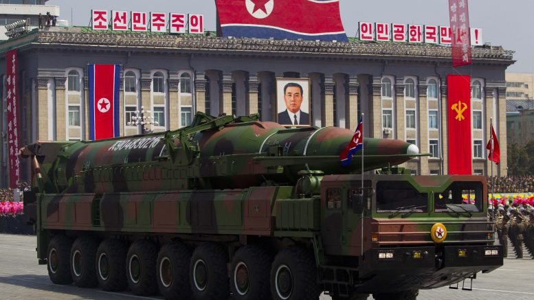 19 May 2013, Pyongyang, North Korea --- (130519) -- BEIJING , May 19, 2013 (Xinhua) -- File photo taken on April 15, 2012, shows a vehicle carrying a missile during a military parade in Pyongyang, capital of the Democratic People's Republic of Korea (DPRK). The DPRK on Sunday fired a short-range missile into the East Sea, Yonhap News Agency said quoting a Seoul military official. (Xinhua) --- Image by © Xinhua/Xinhua Press/Corbis