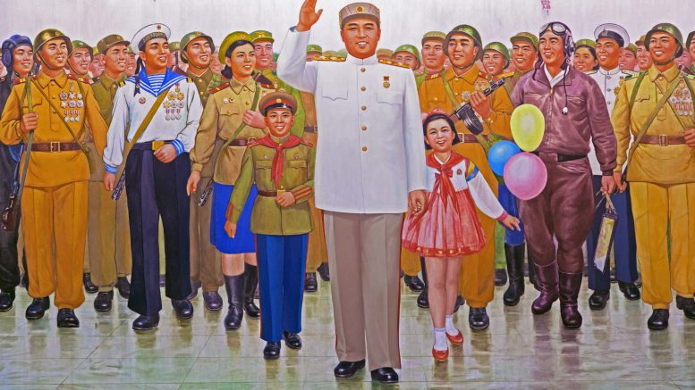 17 Apr 2012, Pyongyang, North Korea --- Wall mural of Kim Il Sung, Victorious Fatherland Liberation War Museum, Pyongyang, Democratic People's Republic of Korea (DPRK), North Korea, Asia --- Image by © Gavin Hellier/robertharding/Corbis