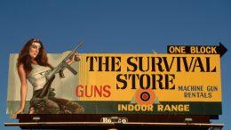 1991, Las Vegas, Nevada, USA --- Billboard Advertising Gun Shop in Las Vegas --- Image by © Galen Rowell/Corbis