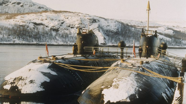 01 Mar 1992, Murmansk, Russia --- Typhoon Class Submarines in Murmansk --- Image by © Georges de Keerle/Sygma/Corbis