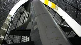 The X-37B Orbital Test Vehicle in the encapsulation cell at the Astrotech facility in April 2010, in Titusville, Fla. Air Force officials are scheduled to launch the X-37B April 21, 2010, at Cape Canaveral Air Station, Fla. The X-37B is the U.S.'s newest and most advanced unmanned re-entry spacecraft.