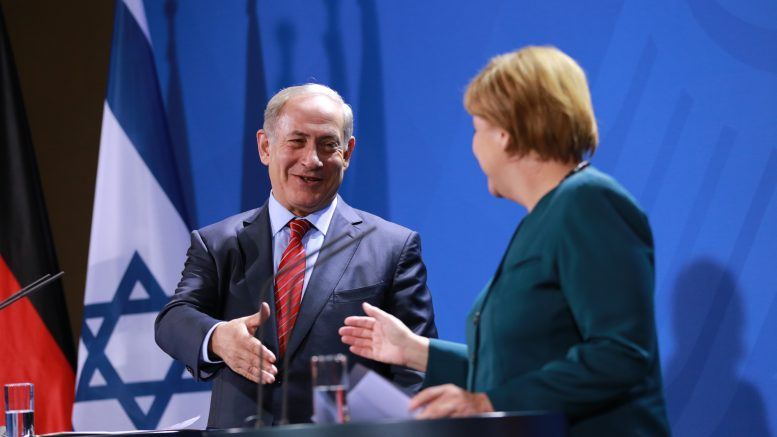 21 Oct 2015, Berlin, Germany --- Berlin, Germany. 21st October 2015 -- Joint press conference of the German Federal Chancellor Angela Merkel and the Prime Minister of Israel Benjamin Netanjahu. -- Israeli Prime Minister Benjamin Netanyahu met German Chancellor Angela Merkel, to discuss the unrest in Israel, the nuclear deal with Iran. --- Image by © Simone Kuhlmey/Demotix/Corbis