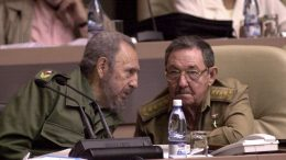 01 Sep 2005, Havana, Cuba --- Cuban President Fidel Castro, with brother and Cuba's Minister of Defense, Raul Castro, pictured on September 1, 2005 during a Cuban Parliament session. Credit: Jorge Rey/MediaPunch --- Image by © Jorge Rey/Mediapunch/Corbis