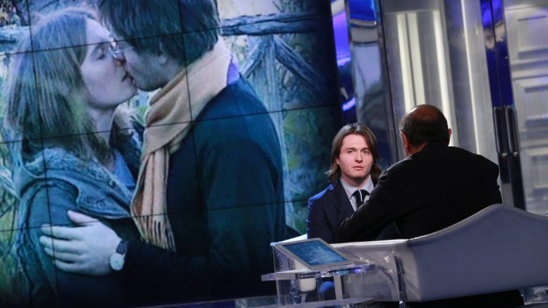 "05 Feb 2015, Rome, Italy --- Rome, Italy. 5th February 2015 -- Raffaele Sollecito, former boyfriend of Amanda Knox, who faces a 25-year sentence for murdering Meredith Kercher, appears as a guest on Italy's 'Porta a Porta' television show. -- Raffaele Sollecito, former boyfriend of Amanda Knox who faces a 25-year sentence for murdering Meredith Kercher, has placed renewed pressure on his co-defendant by noting ""certain anomalies"" in her case. He appeared on Italy's 'Porta a Porta' show. --- Image by © indiPHOTOpress/Demotix/Corbis"