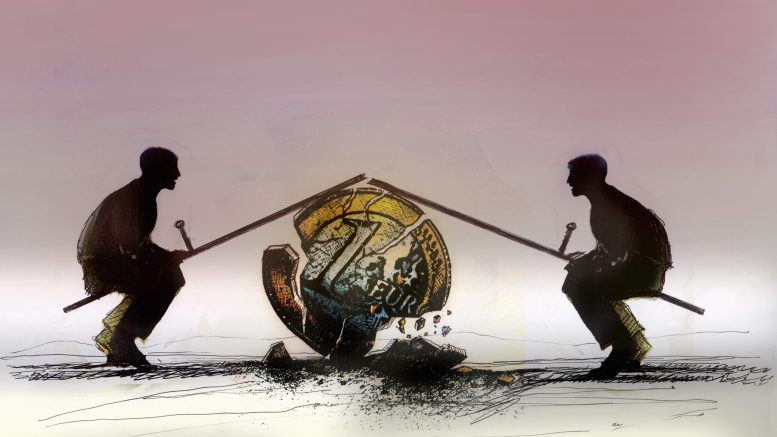 Men on broken seesaw on top of crumbling one euro coin --- Image by © Gary Waters/Ikon Images/Corbis