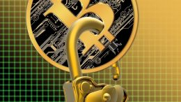 28 Jan 2015 --- Bitcoin with a padlock through it, computer illustration. --- Image by © VICTOR HABBICK VISIONS/Science Photo Library/Corbis