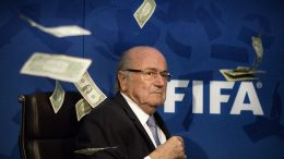 20 Jul 2015, Zürich, Switzerland --- Zurich, Switzerland. 20th July 2015 -- FIFA president Sepp Blatter is showered with cash by Lee Nelson during a press conference in Zurich. -- FIFA president Sepp Blatter was showered with cash by Lee Nelson during a press conference in Zurich. --- Image by © Elyxandro Cegarra/Demotix/Corbis
