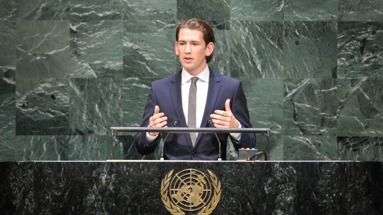 28 Sep 2014, New York City, New York State, USA --- (140927) -- NEW YORK, Sept. 27, 2014 (Xinhua) -- Sebastian Kurz, federal minister for Europe, Integration and Foreign Affairs of Austria, speaks during the general debate of the 69th session of the United Nations General Assembly, at the UN headquarters in New York, on Sept. 27, 2014. (Xinhua/Niu Xiaolei) --- Image by © Niu Xiaolei/Xinhua Press/Corbis