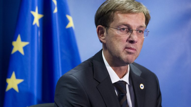 18 Dec 2014, Brussels, Belgium --- Brussels, Belgium, December 18, 2014. -- Slovenian Prime Minister Miro Cerar Jr. is talking to media at the end of an EU Chief of state summit in the EU Council headquarter. --- Image by © Thierry Tronnel/Corbis