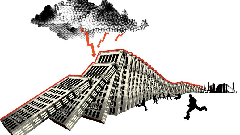 Bank buildings falling like dominos --- Image by © Simone Golob/Corbis